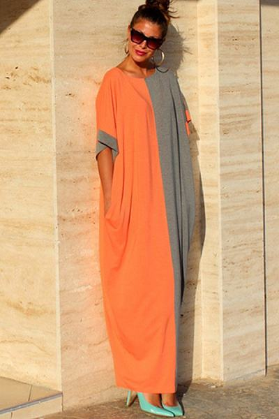 Color Block Half Sleeve Maxi Dresses