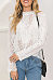 Band Collar  Hollow Out Plain Blouses