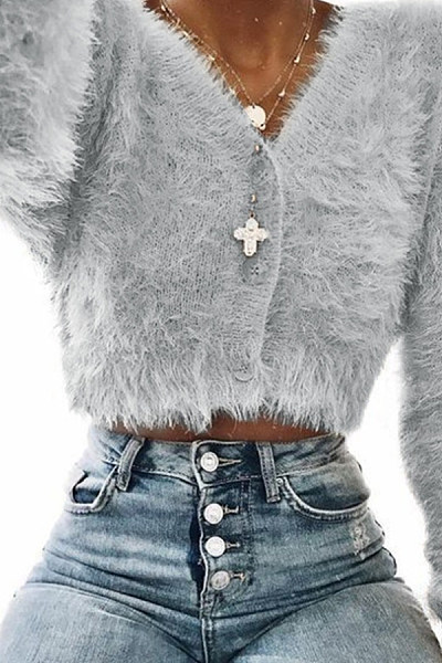 V Neck  Single Breasted  Plain Teddy  Outerwear