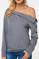 Open Shoulder  Decorative Buttons  Plain  Sweatshirts