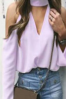 High Neck  Plain  Blouses