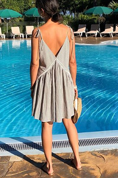Sexy Deep V Sling Bow Striped Halter Dress