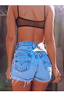 High Waist Versatile Pocket Sexy Denim Shorts