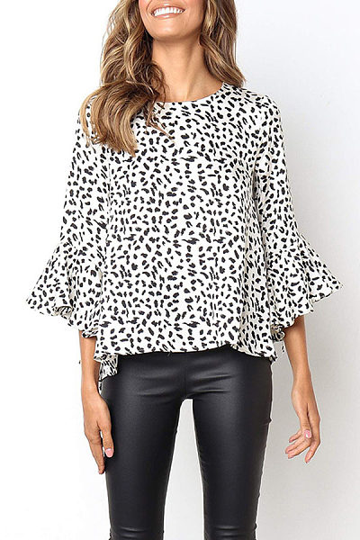 Sexy Loose Round Neck Printed Flared Sleeve T-Shirt