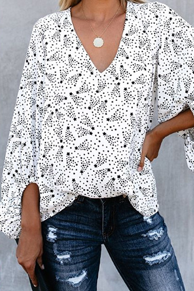 Casual Star Print Long Sleeve Shirt
