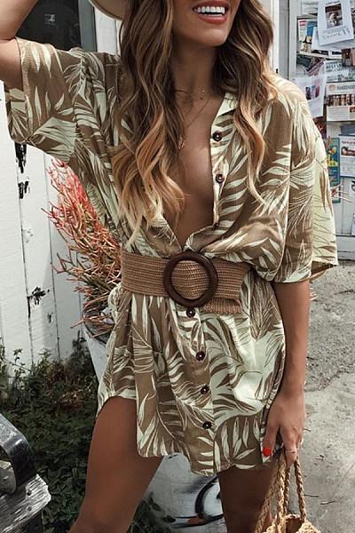 Casual Fold Collar Button Leaf Print Short Sleeve Shirt