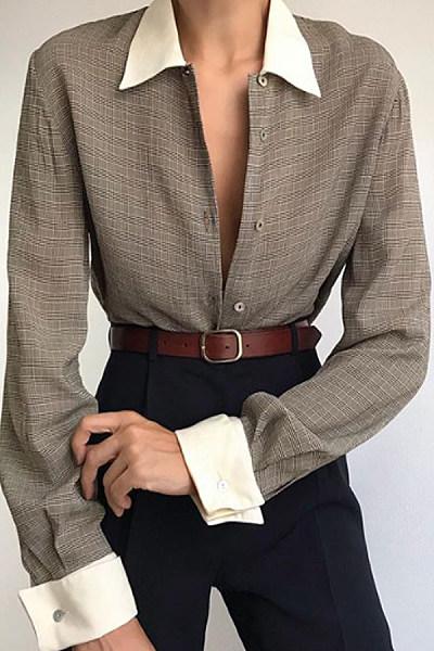 Cmmuting Brief Turndown Collar Plaid  Long Sleeve Blouse