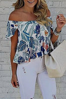 Off Shoulder Printed Bell Sleeve Blouse