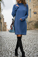 Cowl Neck  Plain  Long Sleeve Casual Dresses