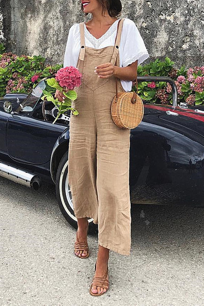 Long Basic Backless  Plain Jumpsuits