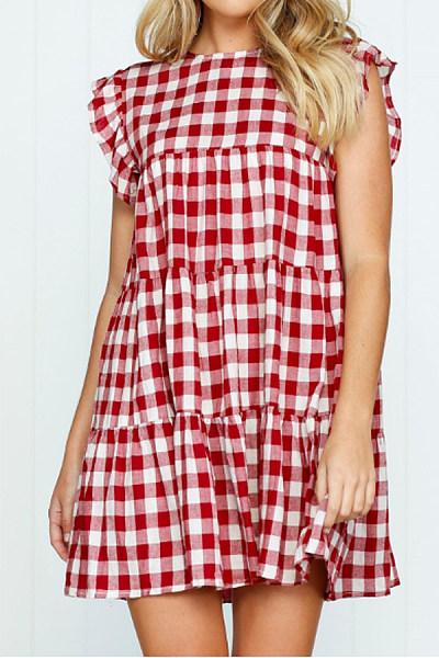 9de370ece5a Round Neck Patchwork Checkered Extra Short Sleeve Casual Dresses ...