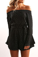 Off Shoulder  Elastic Waist  Polka Dot  Long Sleeve Playsuits