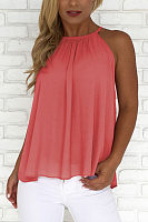 Crew Neck  Backless  Plain  Vests