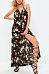 Halter  Backless Slit  Floral  Sleeveless Maxi Dresses