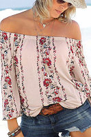 Off Shoulder  Floral Printed T-Shirts