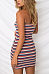 Strapless  Color Block Striped  Sleeveless Bodycon Dresses