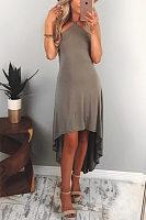 Halter  Asymmetric Hem Backless  Plain  Sleeveless Maxi Dresses