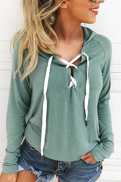Hooded  Drawstring  Plain Hoodies