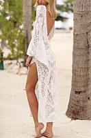 V Collar Sexy Halter Split Lace Vacation Dress