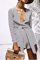 Deep V Neck  Striped  Long Sleeve  Playsuits