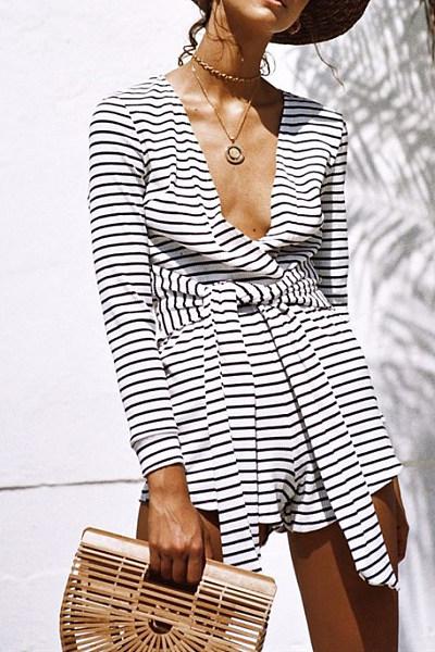 Deep V Neck  Striped  Long Sleeve  Playsuits