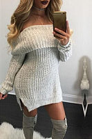 Off Shoulder  Side Slit  Plain Sweater Casual Dresses
