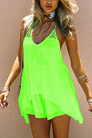 Spaghetti Strap  Asymmetric Hem  Plain  Sleeveless Casual Dresses
