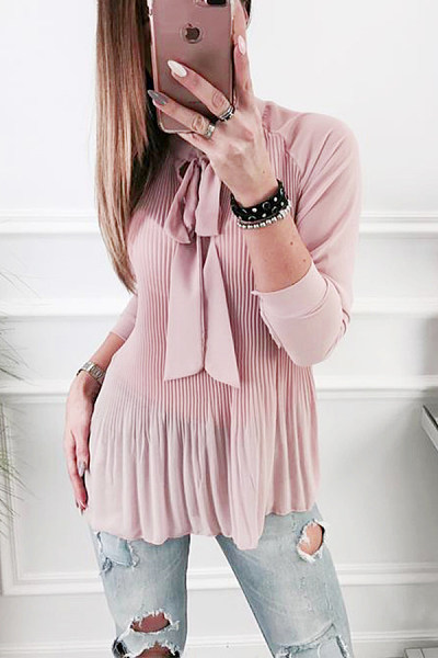 Bow Collar  Beading Ruffled Hem  Plain  Blouses