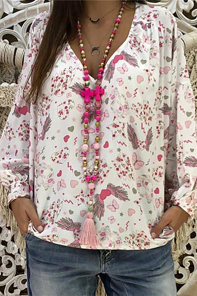 Casual V Neck Printed Colour Long Sleeve Loose Blouse