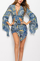 Deep V Neck  Asymmetric Hem  Belt  Print  Long Sleeve  Playsuits
