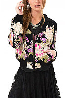 Band Collar  Floral  Basic Jackets