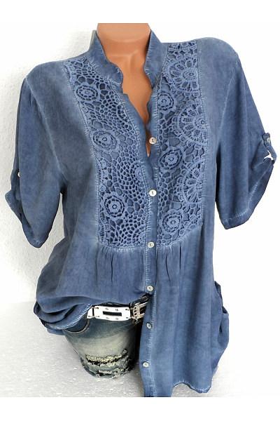 Band Collar  Patchwork  Lace Plain Blouses