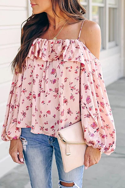 Sweet Sling Collar Shoulder Out Floral Printed Blouses Shirt