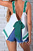 Spaghetti Strap  Backless Bowknot  Patchwork Camis