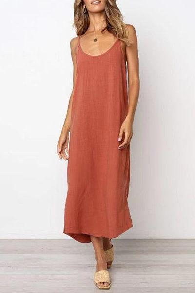 Spaghetti Strap  Plain  Sleeveless Maxi Dresses