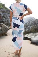 V Neck  Asymmetric Hem  Geometric Maxi Dresses