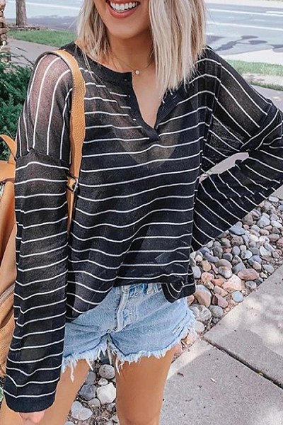 Casual Striped Long Sleeve See-Through T-Shirt