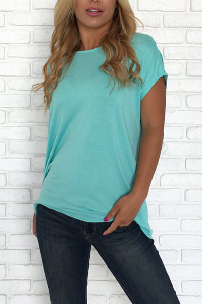 Crew Neck  Backless  Plain T-Shirts