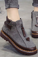 Color Block  Flat  Velvet  Round Toe  Casual Outdoor  Short Flat Boots