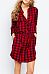 Turn Down Collar  Drawstring Single Breasted  Checkered Casual Dresses