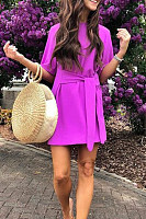 Sexy Short Sleeves Purple Bandage Mini Dress