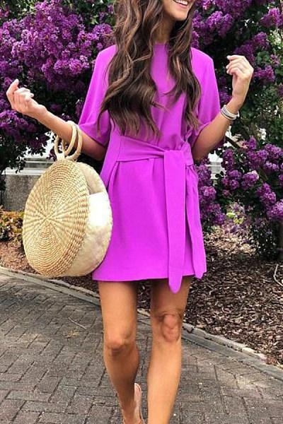Sexy Short Sleeves Purple Bandage Mini Dress