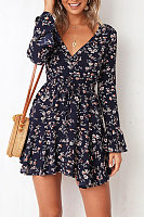Deep V Neck  Asymmetric Hem  Belt  Floral Printed  Bell Sleeve  Long Sleeve Casual Dresses