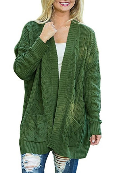 Kangaroo Pocket  Plain Basic  Cardigans