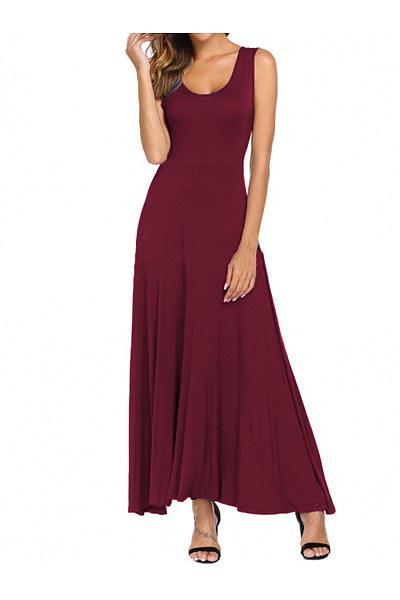 Round Neck  Plain Maxi Dress