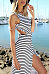 Round Neck  Backless High Slit  Striped  Sleeveless Maxi Dresses