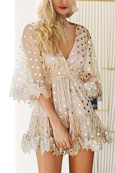 V Neck Dot Half Sleeve Elegant Skater Dresses