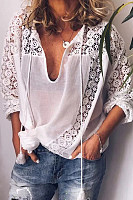 Women's Commuting Lace Tassel Hollow Blouse