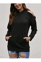 Solid Color Off-The-Shoulder Long Sleeve T-Shirts