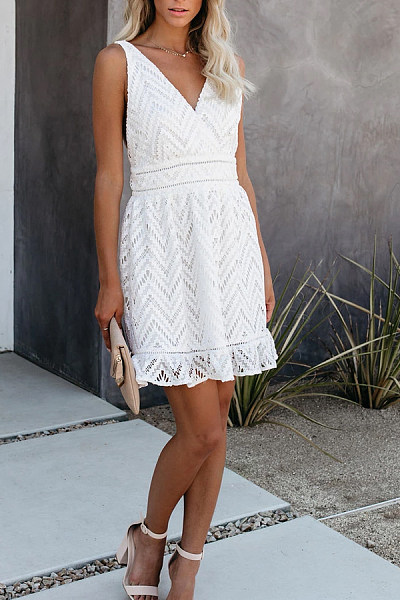 Cute Casual V Neck Solid Color Lace Dress